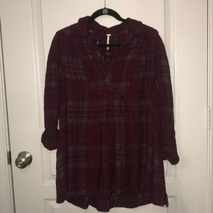 Free People Maroon Plaid Tunic (with pockets!)